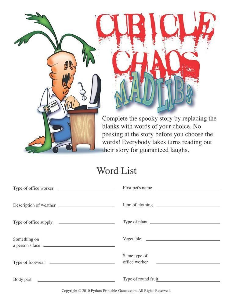 image about Office Mad Libs Printable named Online games for the Business: Cubicle Chaos Insane Libs, $6.95