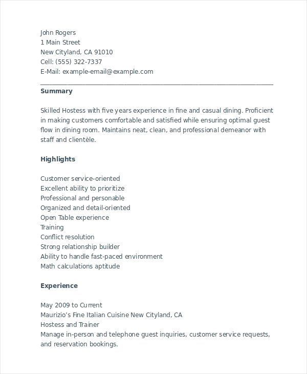 Host Hostess Resume Examples Free To Try Today Myperfectresume Waitress Resume Sample Monster Com Hostess Res Resume Examples Resume Skills Server Resume