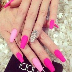 Matte Hot And Light Pink Nailz With Bling Pink Gel Nails Pink Nails Rhinestone Nails