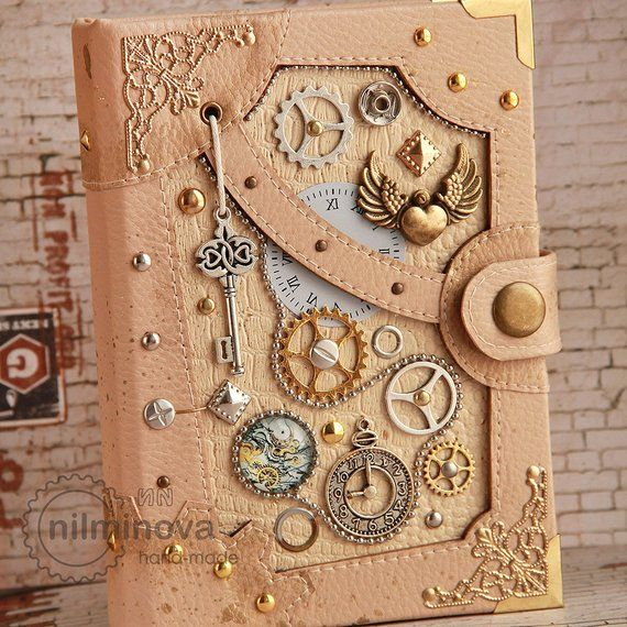 Steampunk Wedding Guest Book Bride Gift Girl Diary for Couple Engagement Gift Steampunk Blank Geek Wedding Anniversary Gift