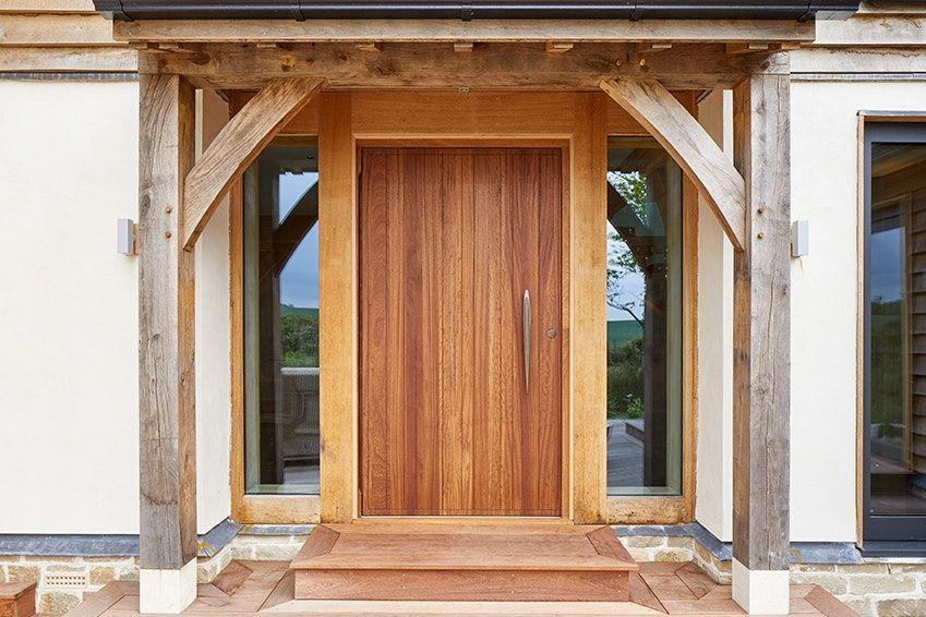 Oak Framed House with Iroko doorset