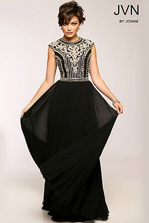 Crystal and Bead Embellished Gown JVN24413