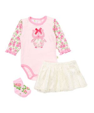 Another great find on #zulily! Pink Owl Lace Skirt Set - Infant by Duck Duck Goose #zulilyfinds
