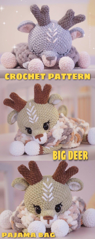 Crochet Deer PATTERN pajama cases Amigurumi reindeer tutorial BIG deer, Toy 20 inch, Lovey animals