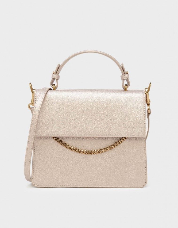 bb4b4fe7e4 Rose Gold Top Handle Chain Detail Bag