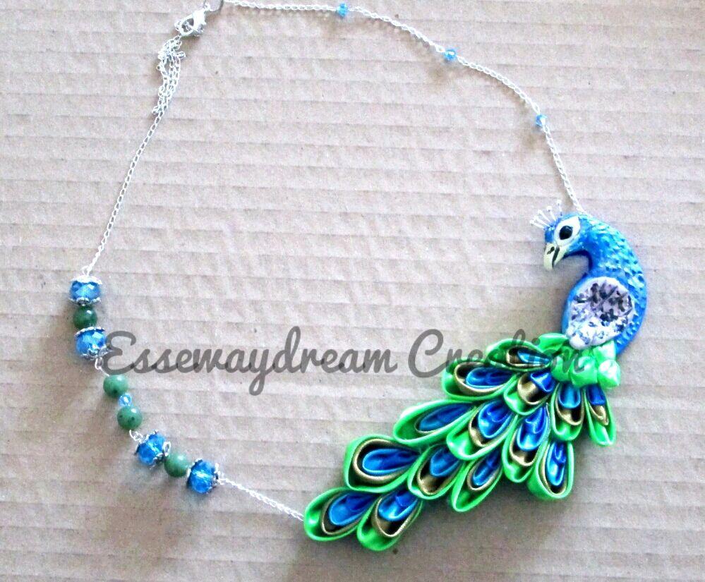 peacock kanzashi necklace by syoori.deviantart.com on @DeviantArt