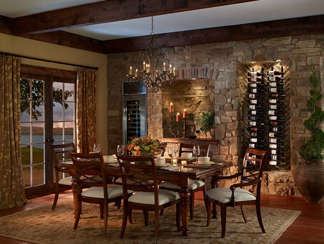 wine wall art decorating dining room | Love the built in wine storage and wine fridge. | Tuscan ...