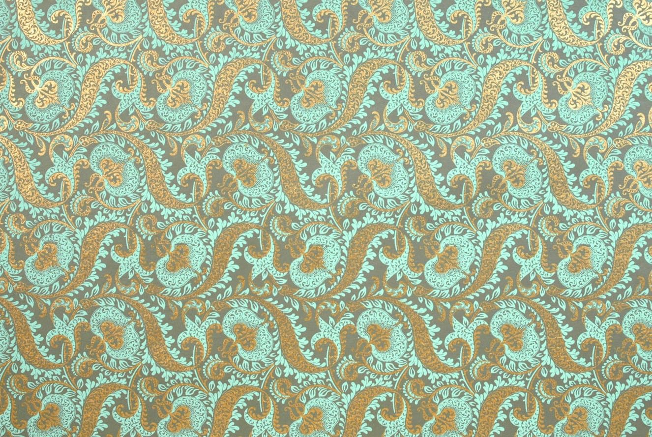 Indian Print Tapestry Mint Amp Gold