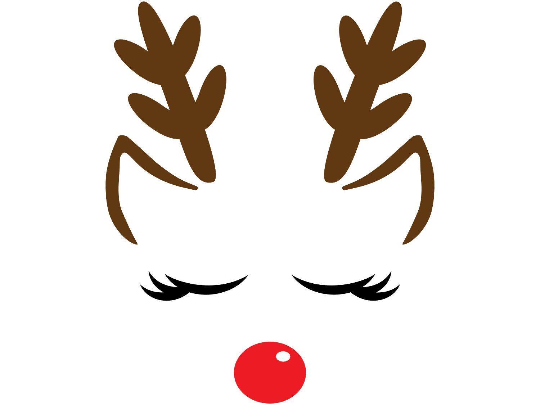 Winter Holiday Christmas Clip Art Girl Reindeer Closed Etsy Christmas Stencils Christmas Decals Reindeer Card