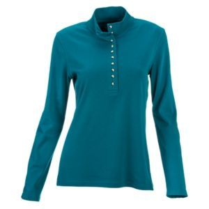 Natural Reflections 10-Button Mock Turtleneck Henley for Ladies - Harbour Blue - 1X