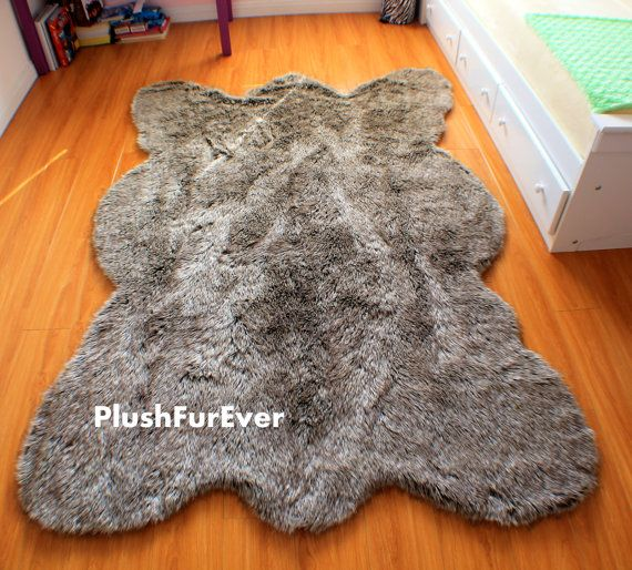5 X 7 Gray Thick Wolf Fake Faux Fur Rugs Plush By Plushfurever