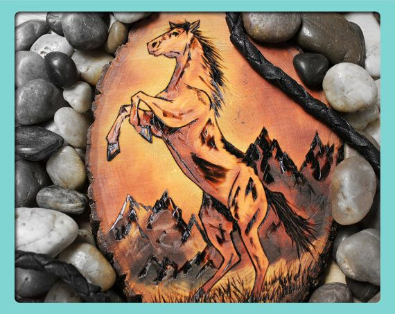 Wood Burned Horse Plaque Like The Mountains Wood Burning Art Pyrography Art Wood Burning Techniques