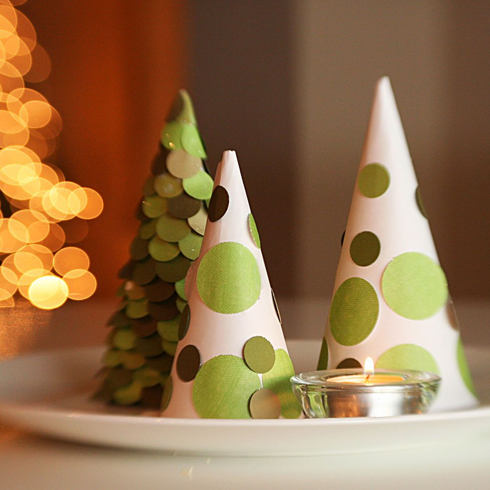 Snow Cone Christmas Trees for Centerpiece or Mantle Decor