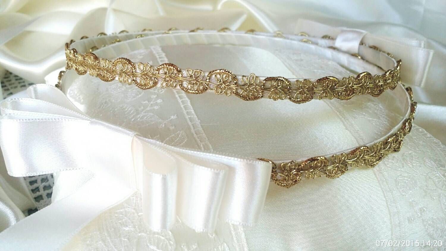Greek STEFANA with GOLD Trim (No PILLOW). Handmade Orthodox Wedding Crowns / Tiaras by Heraeventstore on Etsy https://www.etsy.com/listing/239009641/greek-stefana-with-gold-trim-no-pillow