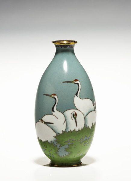 An Antique Japanese Cloisonne Vase With Cranes Meiji Period1150cm