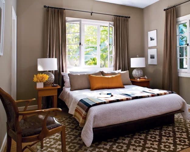 Bed In Front Of Window Home Decor Pinterest Taupe Walls Brown Bedroom Bed Against Window
