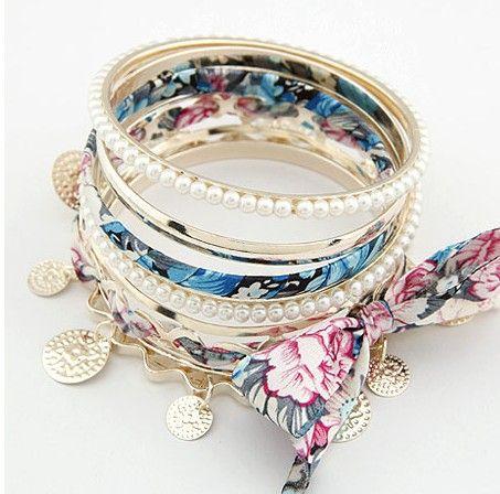 Pas cher Bijoux en gros Style bohème Weave dentelle perle Bowknot  multicouche Charm Bracelet, Acheter