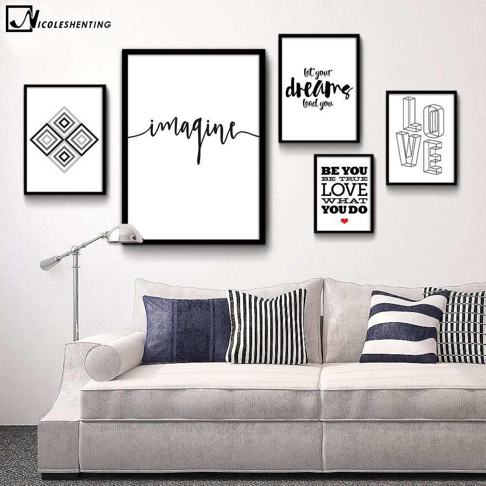 Motivational Quote Minimalist Art Canvas Poster Abstract Painting Black White Wall Picture Modern Home Deco White Wall Decor White Walls Wall Decor Living Room