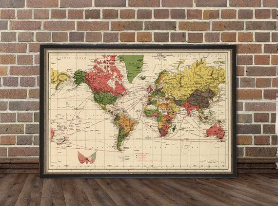 Vintage  world map print  Antique  wall map  by AncientShades