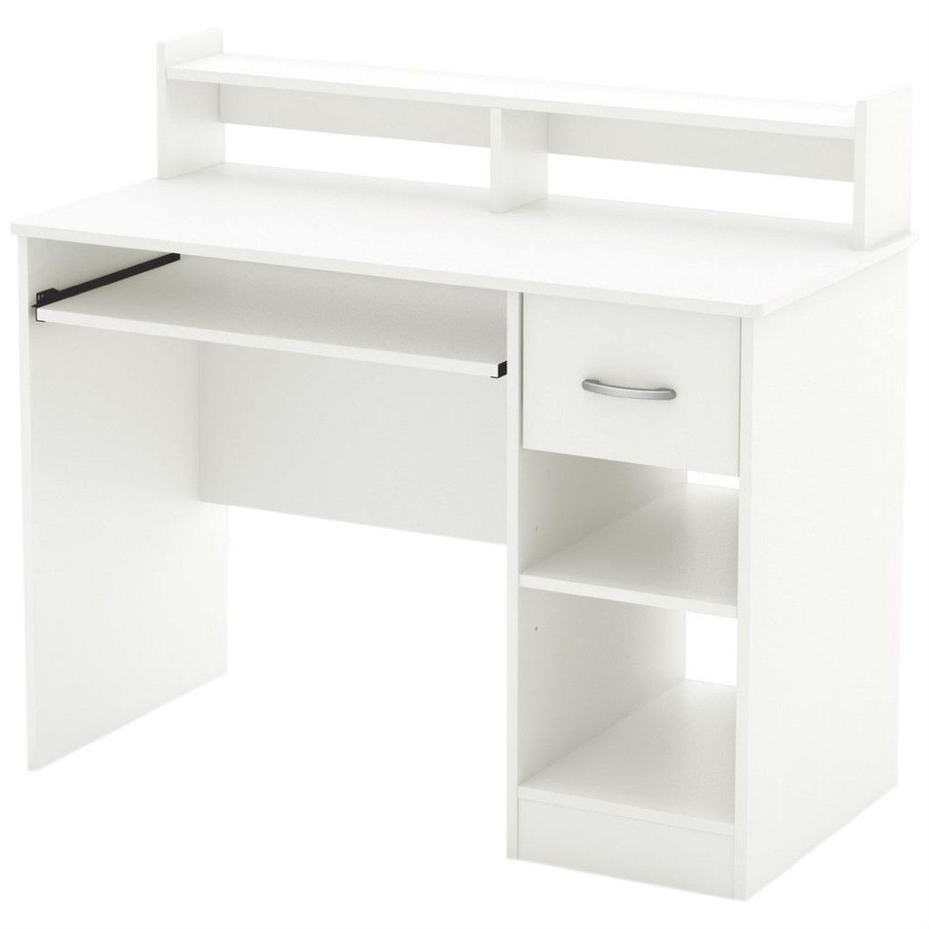 Contemporary home office computer desk in white wood finish hearts