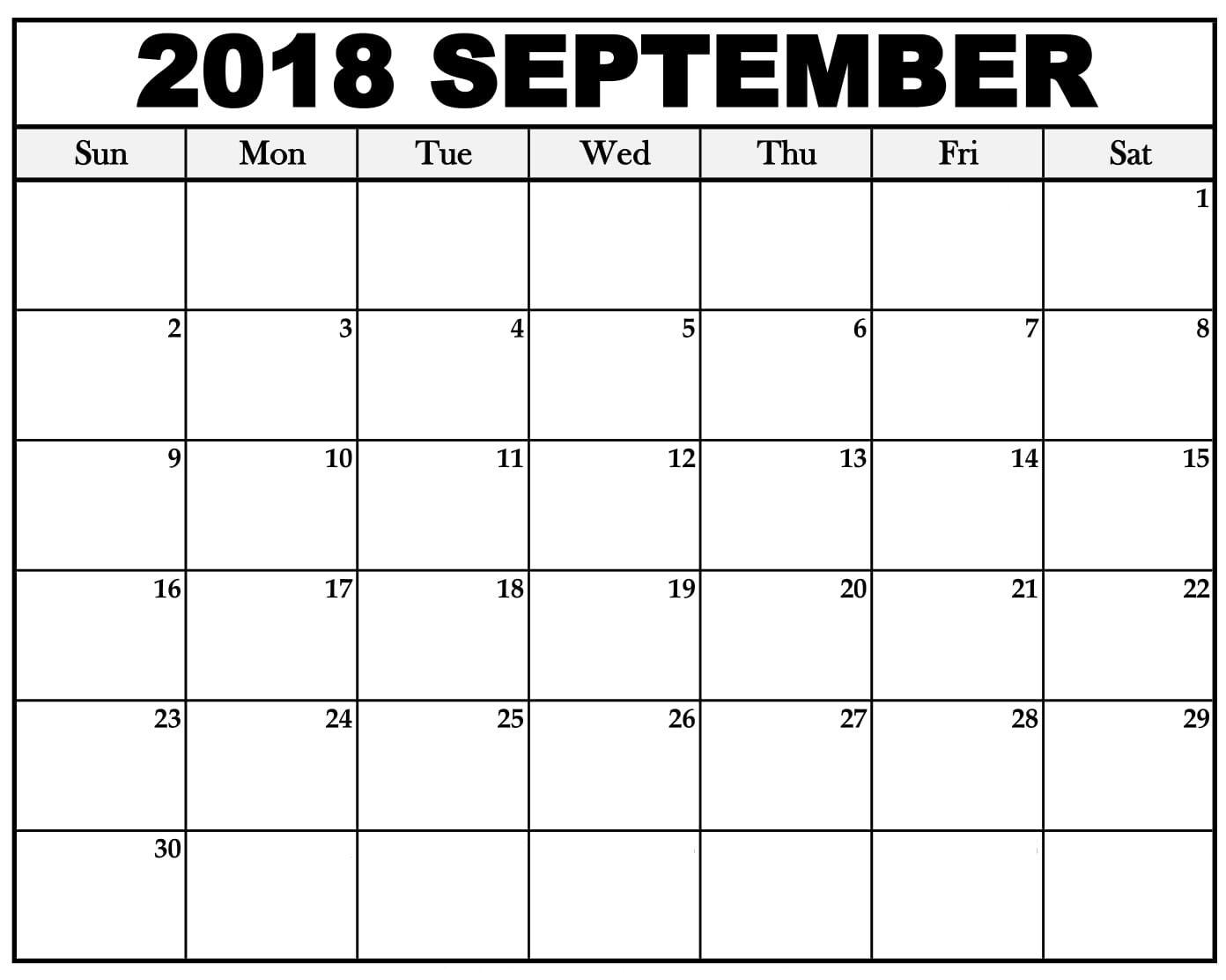 September 2018 Calendar Printable Template