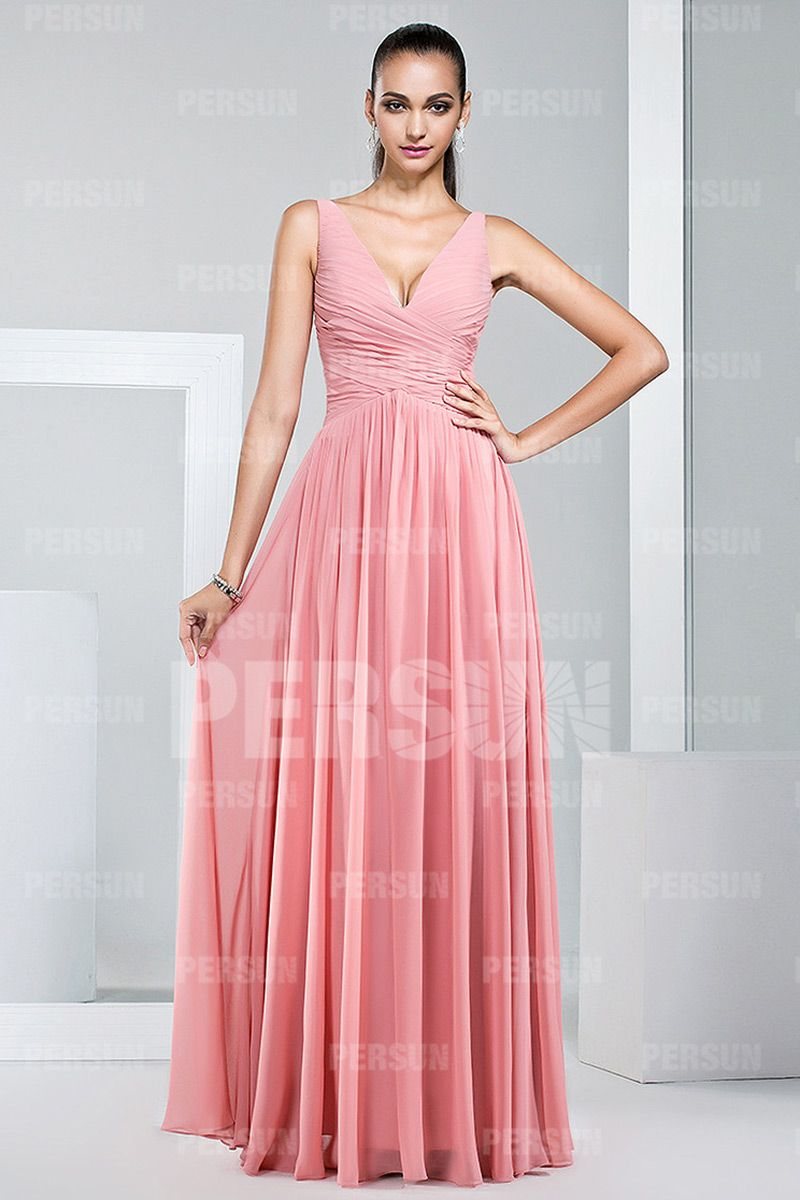 Simple V-neck Column Wedding Guests Dress in Skin pink [WPBH1524 ...
