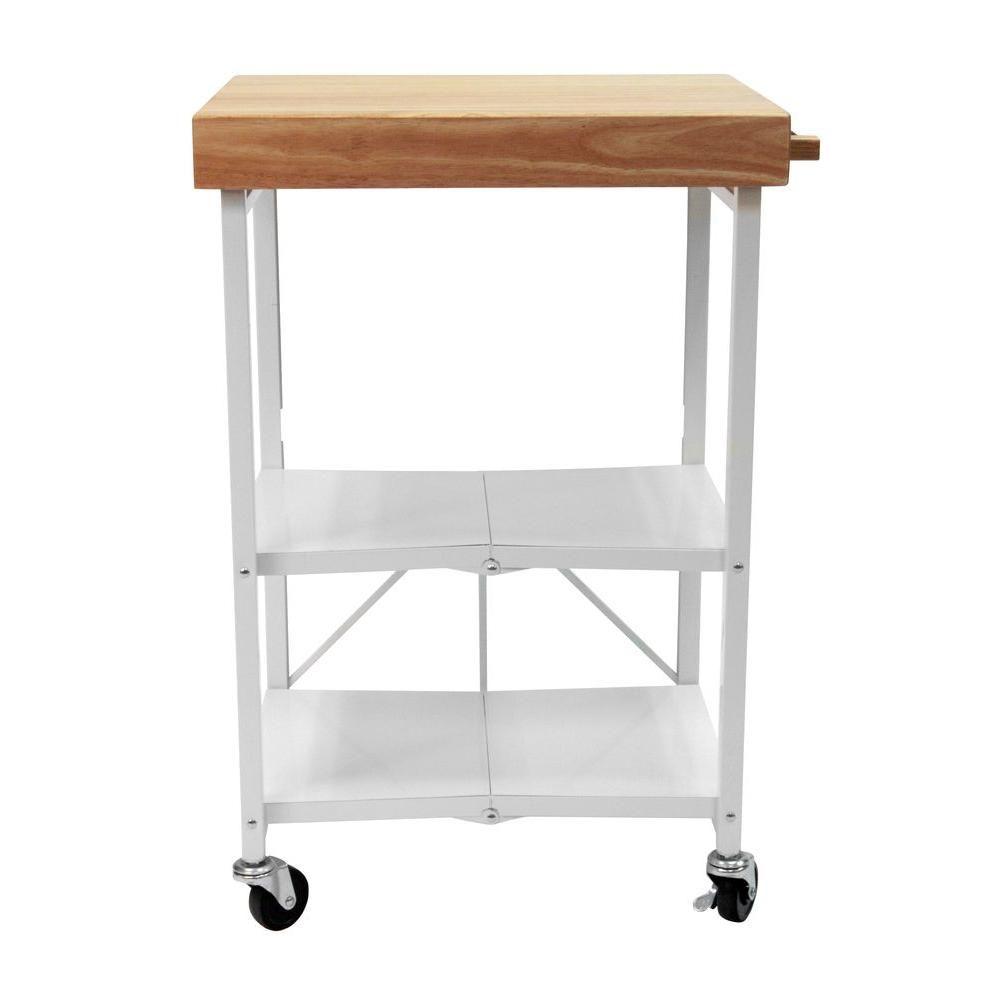 26 in. W Rubber Wood Folding Kitchen Island Cart, White | Pinterest