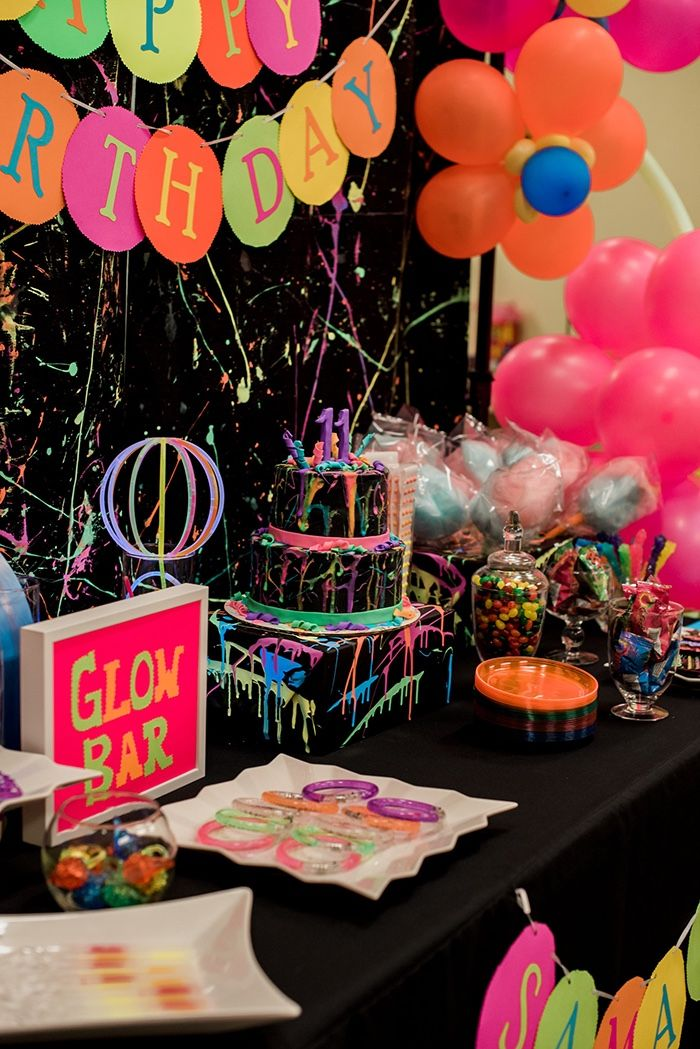 Cake Table From A Neon Glow Birthday Party On Karas Ideas