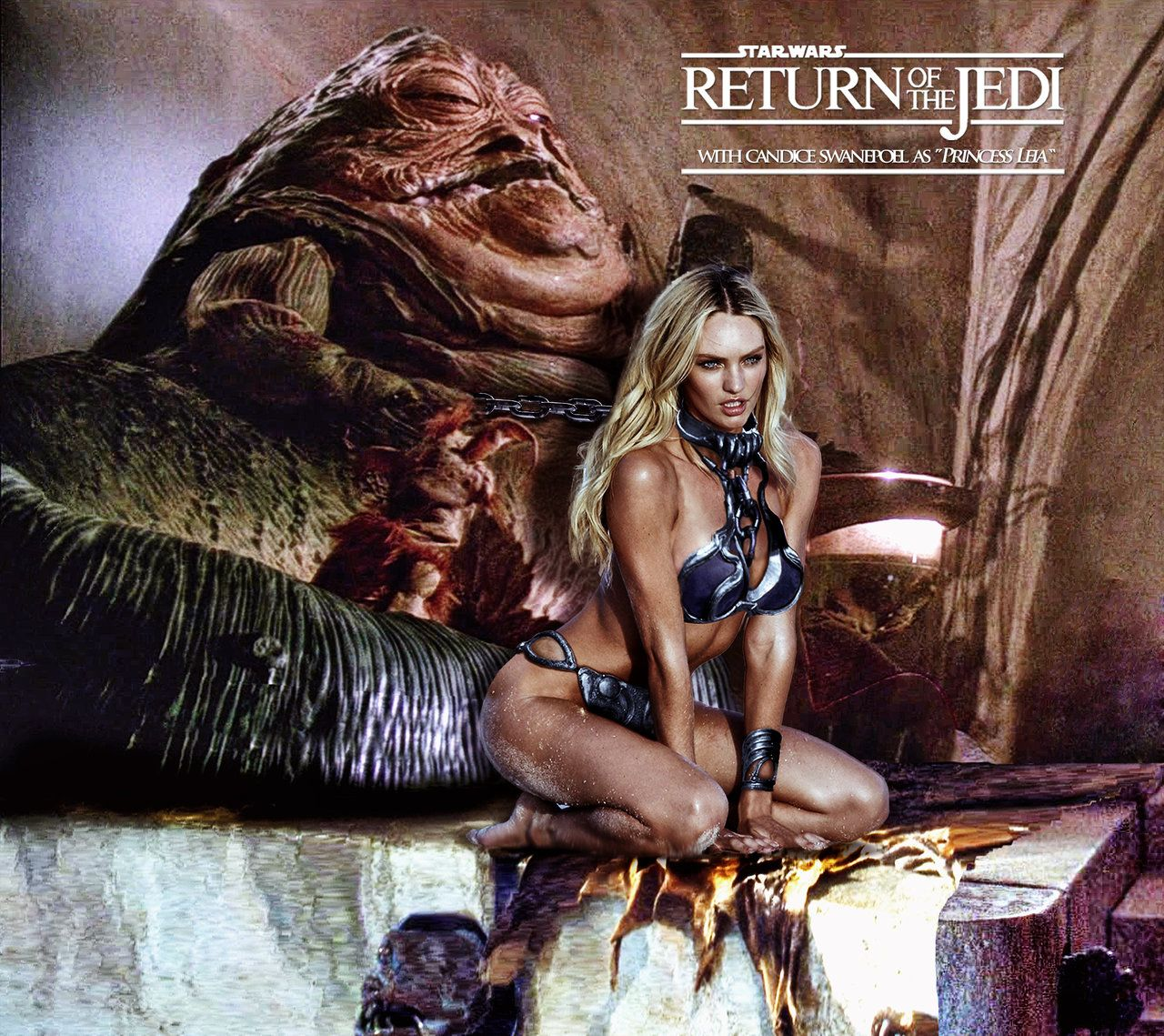 Princess Leia May The 4th Be With You: Candice Swanepoel/Princess Leia Slave/Jabba Hutt By