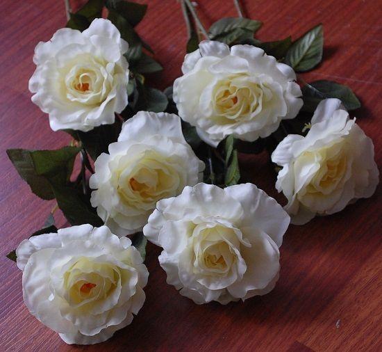 24 bulk clearance artificial flower silk cream rose roses stems mightylinksfo