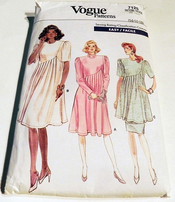 5612401ee7d8e 1980s Maternity Dress Tunic Top Skirt flared stylish raised waist sewing pattern  Vogue 7125 Size 14 16 18 Bust 36 38 40