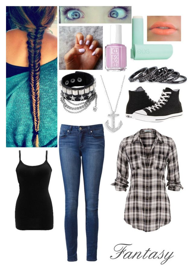 """""""Fantasy✓"""" by samantharobins ❤ liked on Polyvore featuring Essie, BKE core, Paige Denim, Converse, Pieces and Eos"""