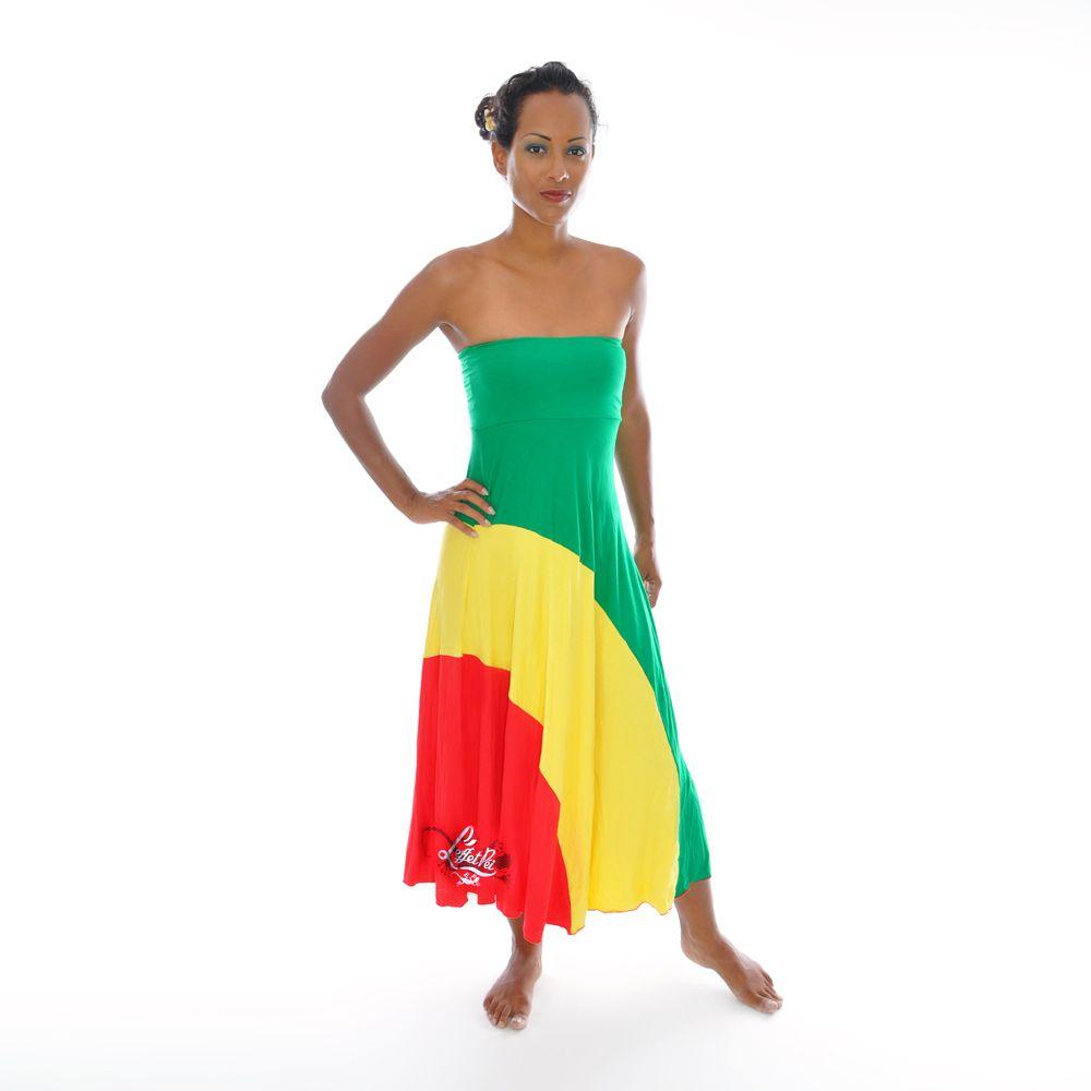 Robe noir vert jaune rouge