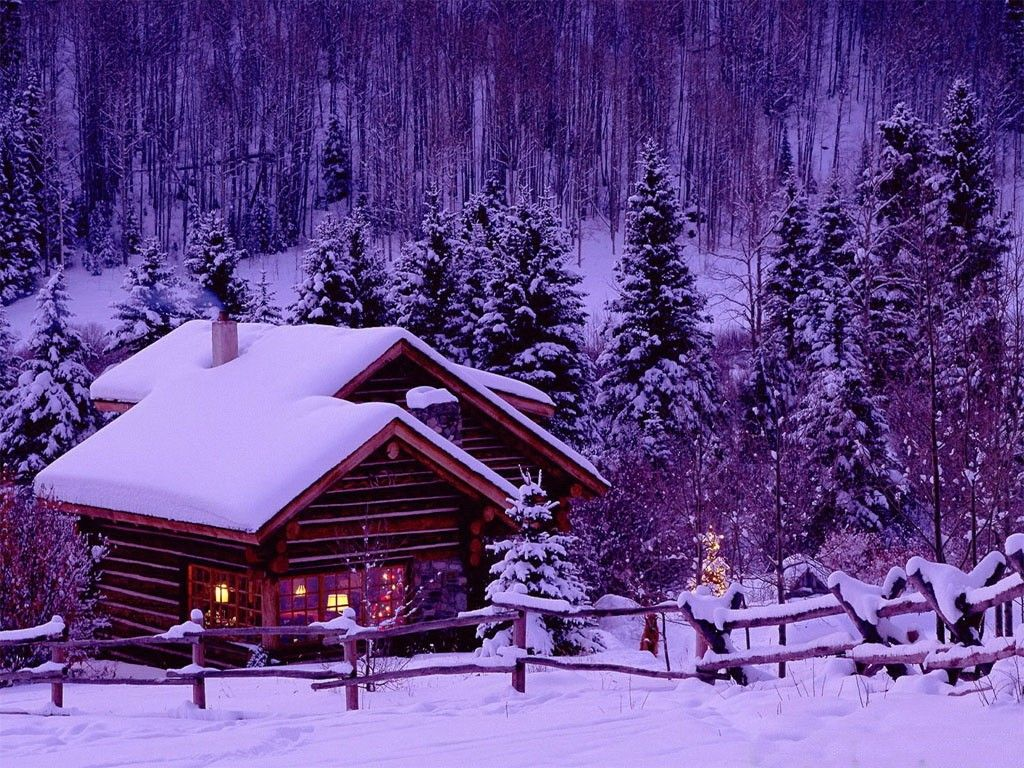 Frost nature frozen cabins wooden trees winter cold houses nice snow evening forest slope cottages beautiful