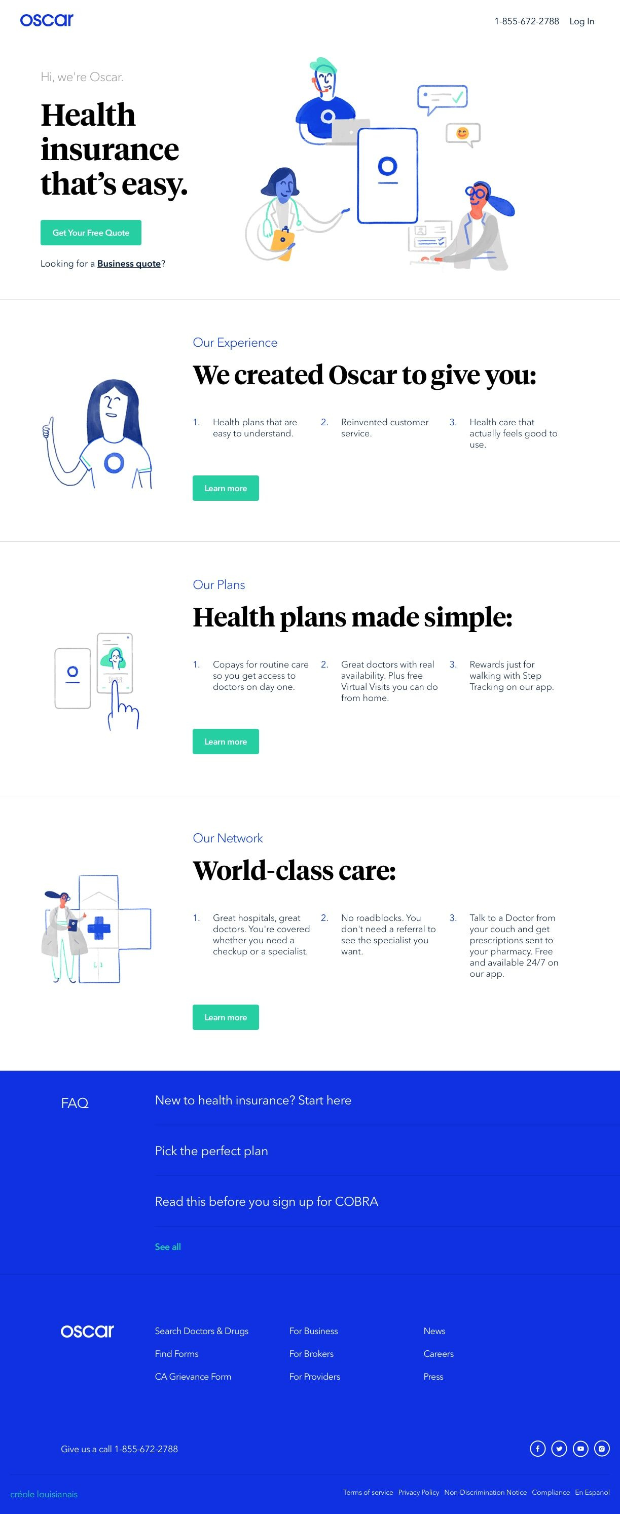 Oscar Health Insurance That S Easy Landing Page Design Web