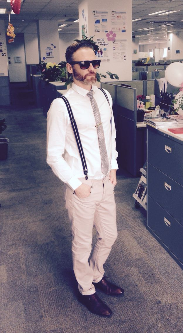 9caf0dcc4fa H M Black Suspenders H M White shirt Off-white pants Zara s brown leather  shoes Black and White plaid tie