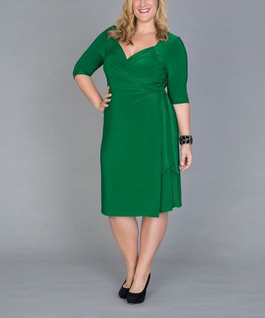 764866d122d Another great find on  zulily! Green Sweetheart Surplice Dress - Plus by  KIYONNA  zulilyfinds