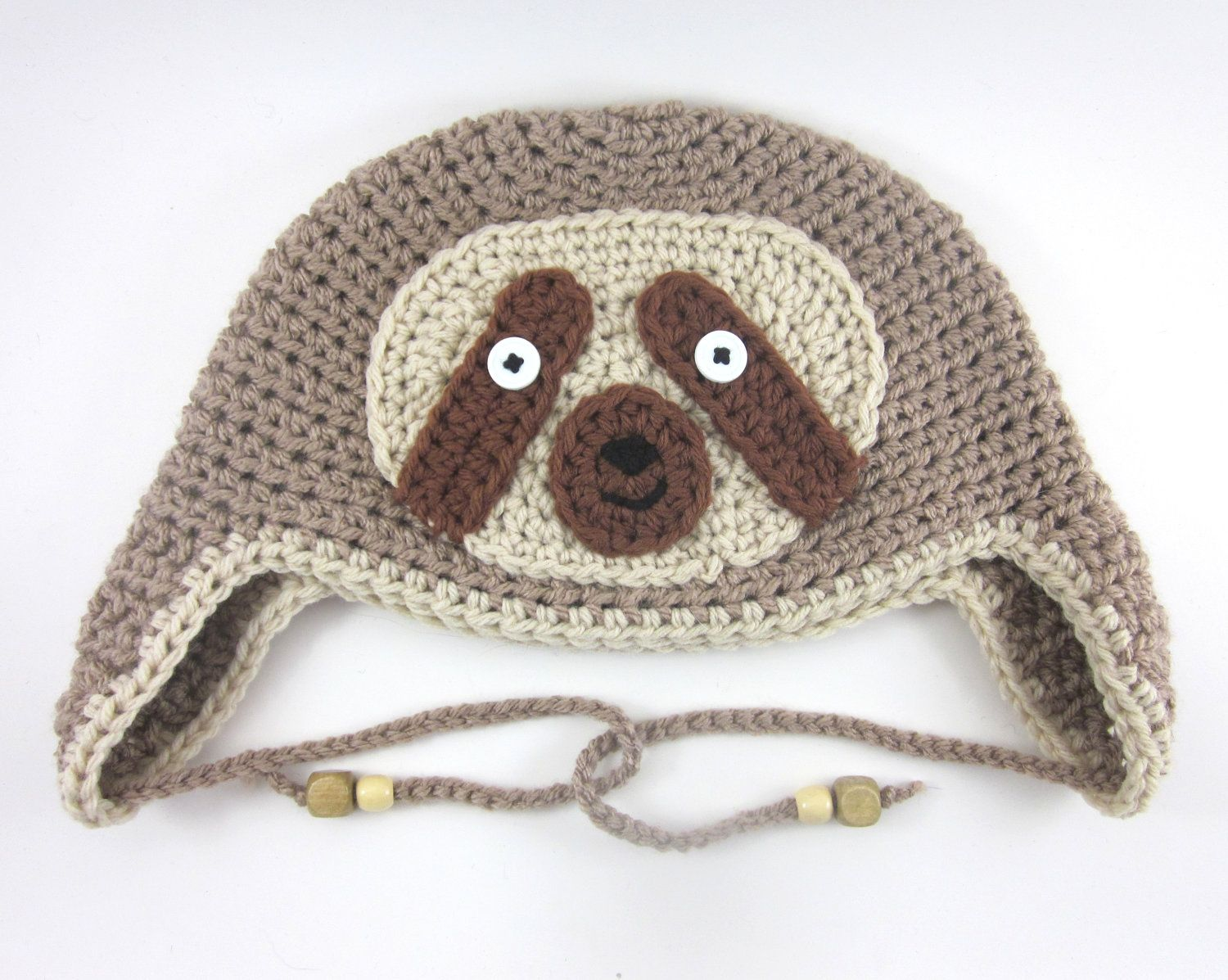 Sloth Hat (crochet ear flap animal beanie). $27.00, via Etsy ...