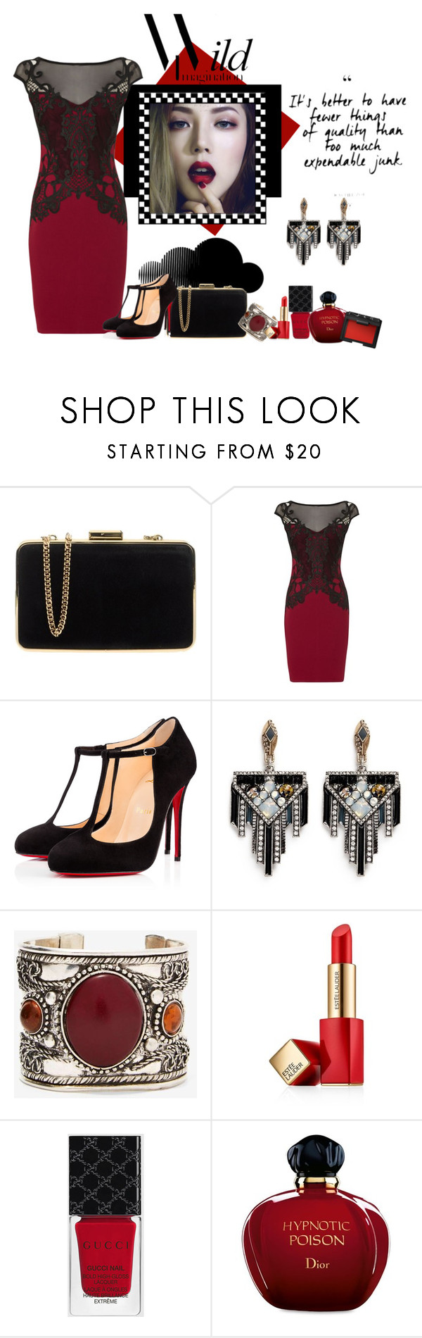 """""""Wild Imagination❤️"""" by glitterlady4 ❤ liked on Polyvore featuring MICHAEL Michael Kors, Lipsy, Christian Louboutin, Lulu Frost, Estée Lauder, Gucci, Christian Dior and NARS Cosmetics"""
