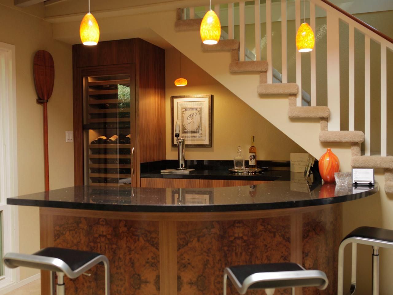 Wine Glass Stairs | Modern Minimalist Home Basement Bar Design After  Remodel With Pendant .