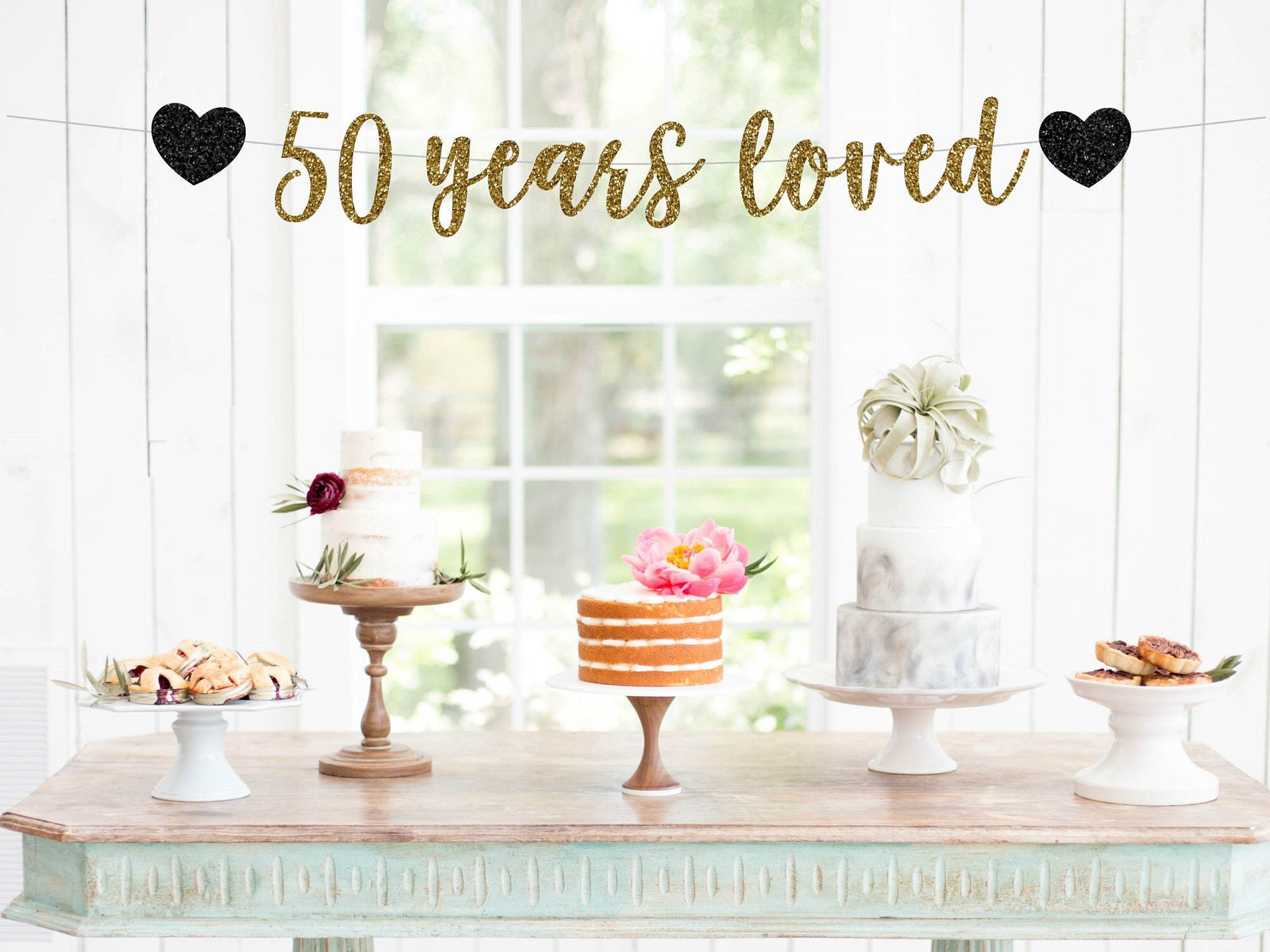 50 Years Loved Banner, 50th Anniversary Glitter Banner, Cheers To 50 ...