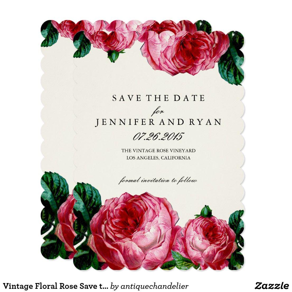 Vintage Floral Rose Save the Date | Zazzle.com | Wedding ...