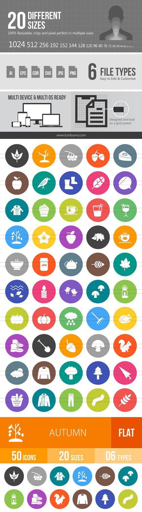 50 Autumn Flat Round Icons in 2020 Icon, Marketing icon
