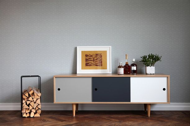 sideboard lowboard cosmo mit schiebet ren skandinavisches design im retro look retro. Black Bedroom Furniture Sets. Home Design Ideas