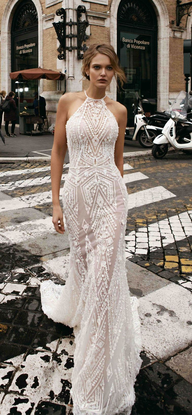 Sleeveless halter neck classic and Elegant full beaded embellishment Fit and Flare Wedding Dress ,mermaid wedding gown #wedding #weddings #weddingdresses #weddingdress