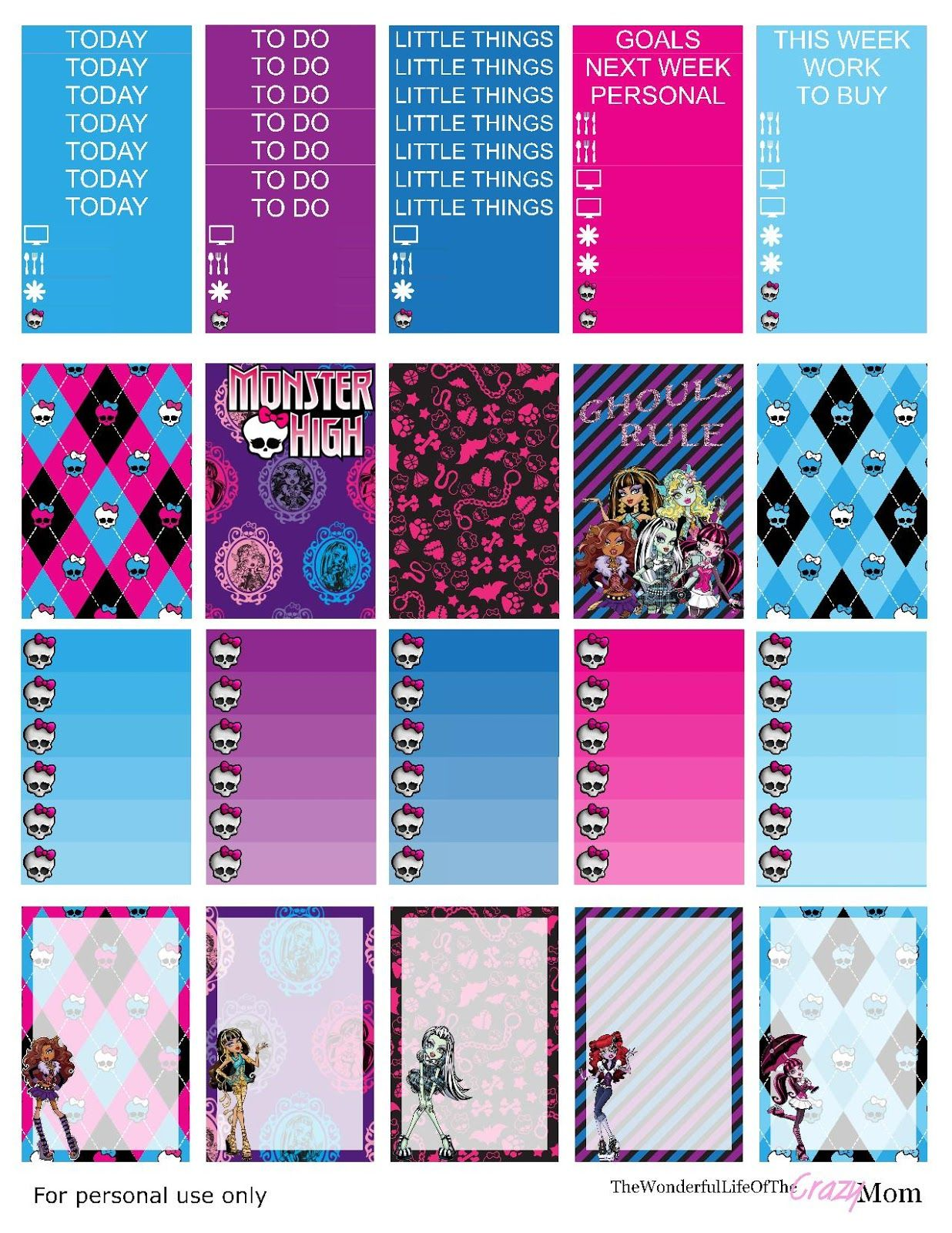 Free Monster High Printable planner stickers HP | MAMBI ...