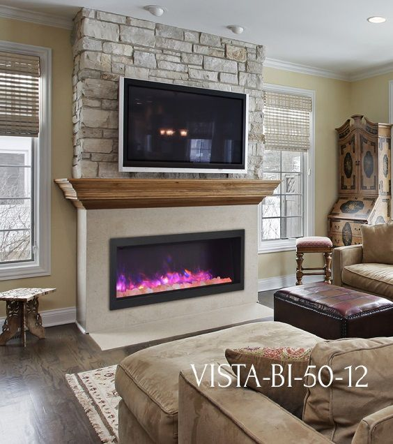 Sierra flame vista bi 50 12 electric fireplace with stone for Fireplace half stone