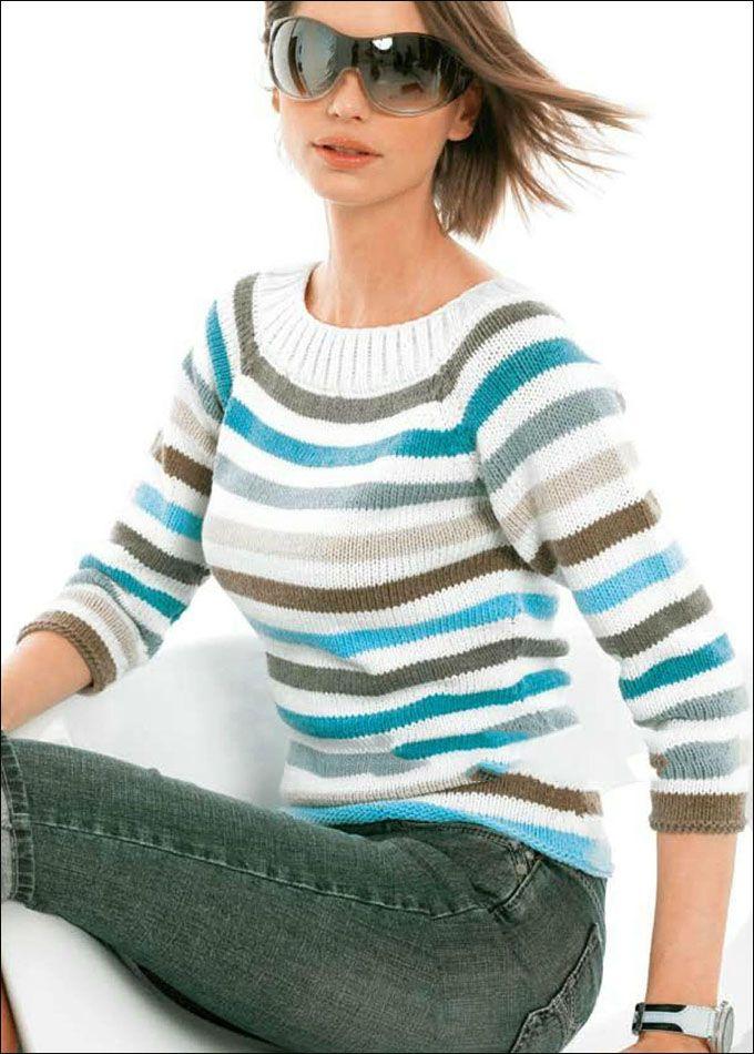 664a1ca1ce0b Пуловер в полоску с рукавом 3/4: схема спицами   knitting   Свитер ...