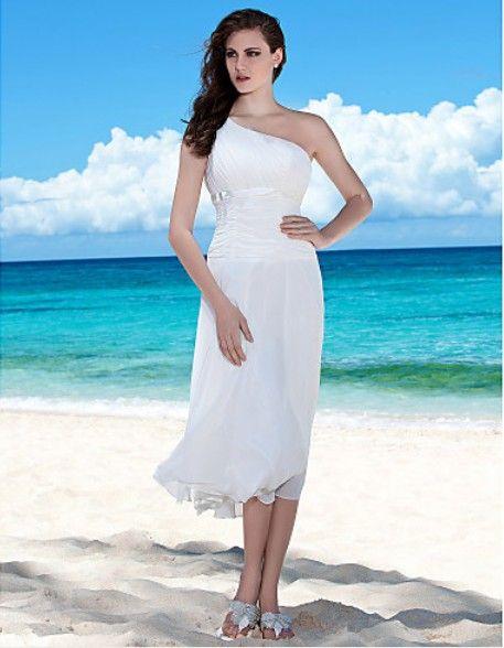 One Shoulder Short, Beach Wedding Dress | Beach wedding vow renewal ...