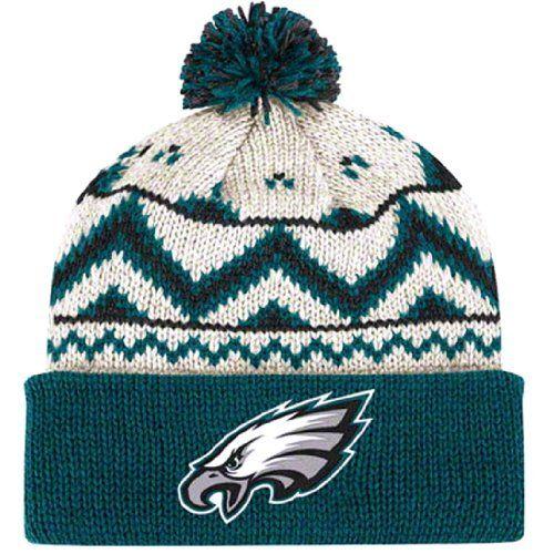 PHILADELPHIA EAGLES OATMEAL   Naural Cuffed Pom Knit Beanie Hat Ski Cap BY  REEBOK by NFL c9f75bf84